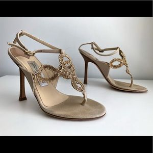JIMMY CHOO BEADED FRONT PANEL ANKLE STRAP SANDALS